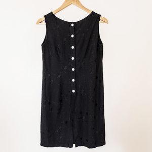 Vintage Linen Blend Floral Embroidered Shift Dress